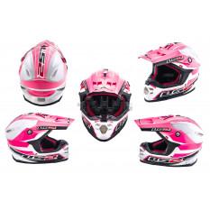 Шолом кросовий (mod: MX456) (size: L, біло-рожевий) LS-2 арт.K-5706