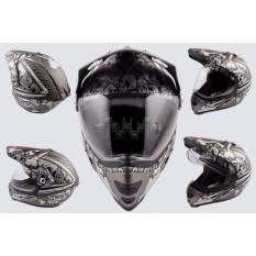 Шлем кроссовый   (mod:Skull) (с визором, size:XXL, серый матовый)   LS-2