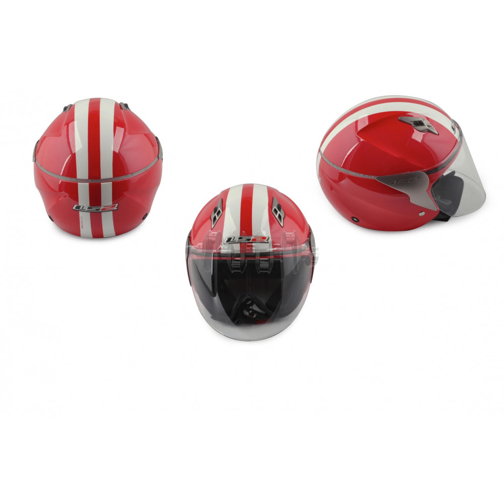 Шлем открытый   (mod:OF559-4) (аэроформа, size:L, касный)   LS2