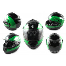 Шлем трансформер   (mod:FL258) (size:M, черно-зеленый)   HELMO