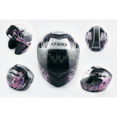 Шлем трансформер   (mod:J) (size:L, черный с узором, FLOWER)   FGN