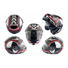 Шлем трансформер   (size:ХL, бело-черный + солнцезащитные очки)   LS-2