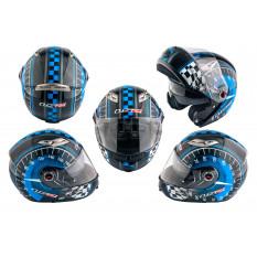 Шлем трансформер   (size:ХL, сине-черный + солнцезащитные очки)   LS-2