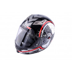 Шлем трансформер   (size:ХХL, бело-черный + солнцезащитные очки)   LS-2