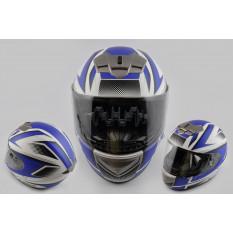 Шлем-интеграл   (mod:368) (size:XL, бело-синий матовый)   LS-2