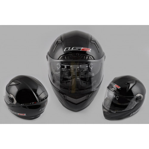 Шлем-интеграл   (mod:385/396) (size:L, черный, солнцезащитные очки)   LS-2