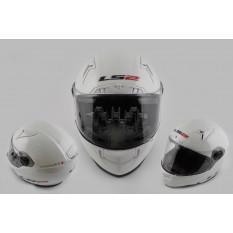 Шлем-интеграл   (mod:385/396) (size:S, белый, солнцезащитные очки)   LS-2