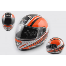 Шлем-интеграл   (mod:550) (premium class) (size:L, бело-оранжевый) Ш106   KOJI
