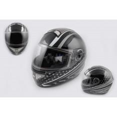 Шлем-интеграл   (mod:550) (premium class) (size:L, серо-черный)   KOJI