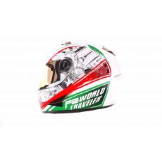 Шлем-интеграл   (mod:B-500) (size:L, бело-красно-зеленый)   BEON