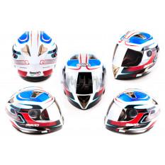 Шлем-интеграл   (mod:B-500) (size:L, бело-красно-синий, зеркальный визор, STORM)   BEON