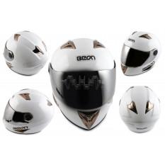 Шлем-интеграл   (mod:B-500) (size:L, белый, зеркальный визор)   BEON
