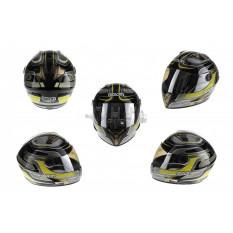 Шлем-интеграл   (mod:B-500) (size:L, черно-серый-желтый)   BEON
