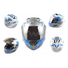 Шлем-интеграл   (mod:B-500) (size:M, бело-синий, зеркальный визор, DARK ANGEL)   BEON