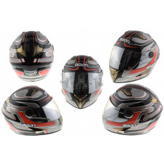 Шлем-интеграл   (mod:B-500) (size:XL, черно-серо-красный)   BEON