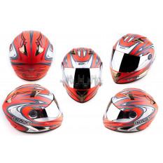 Шлем-интеграл   (mod:В-500) (size:M, красный матовый, зеркальный визор, BLADE)   BEON