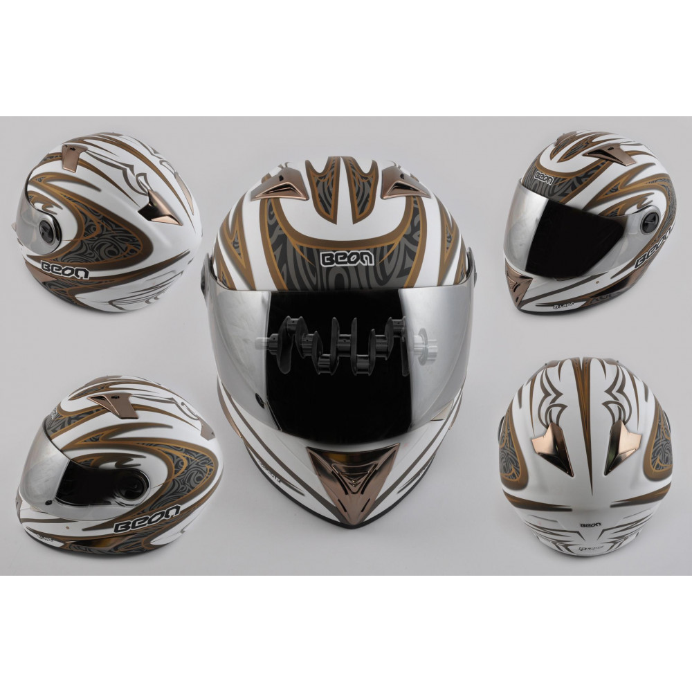 Шлем-интеграл   (mod:В-500) (size:XL, белый матовый, зеркальный визор, BLADE)   BEON