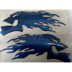 Наклейка   шильдик   FIRESKULL   (14x5см, алюминий, синий)   (#4744)