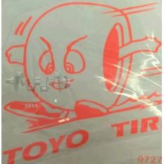 Наклейка   логотип   TOYO   (11x10см, оранжевый)   (#0727)