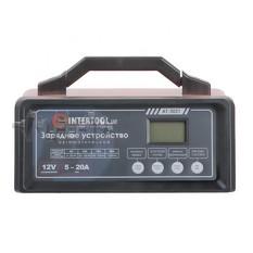Зарядное устройство 12В, 5/10/15/20А, 230В, режим реанимации, десульфатации аккумулятора INTERTOOL