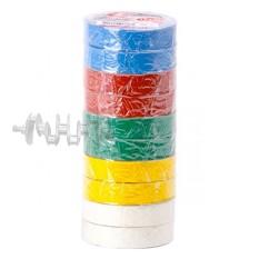 Лента изоляционная 0,15 мм x 17 мм x 15 м цветная INTERTOOL