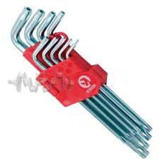 Набор Г-образных ключей TORX с отверстием 9 шт, Т10-Т50, Cr-V, Big INTERTOOL