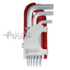 Набор Г-образных шестигранных ключей 9 шт. с шарообразным наконечником, 1,5-10 мм, S2, PROF INTERTOO