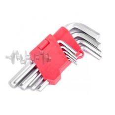 Набор Г-образных шестигранных ключей 9 шт., 1,5-10 мм, Cr-V INTERTOOL