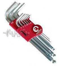 Набор Г-образных шестигранных ключей с шарообразным наконечником, 9 ед.,1,5-10 мм, Cr-V, 55 HRC Big