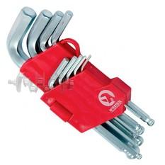 Набор Г-образных шестигранных ключей с шарообразным наконечником, 9 ед.,1,5-10 мм, Cr-V, 55 HRC Smal