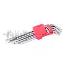 Набор Г-образных шестигранных удлиненных ключей 9 ед., 1,5-10 мм, Cr-V, 55 HRC INTERTOOL