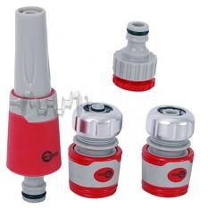 Насадка для полива с плавной регулировкой потока воды + адаптер с резьбой 3/4, 1 и 2 хромированных к