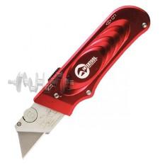 Нож с выдвижным трапециевидным лезвием, металлический корпус INTERTOOL