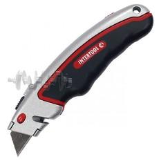 Нож с выдвижным трапециевидным лезвием, металлический корпус, прорезиненный. INTERTOOL