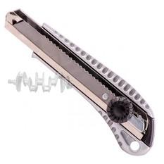 Нож с ломающимся лезвием 18мм, с металлической направляющей, противоскользящий корпус, с винтовой фи