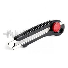 Нож с металлической направляющей под лезвие 18 мм с винтовым фиксатором INTERTOOL