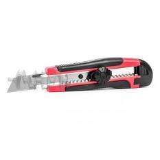 Нож с металлической направляющей под лезвие 18 мм с обрезиненной рукояткой INTERTOOL