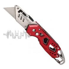 Нож строительный складной с трапециевидным лезвием, SK5, алюминиевая рукоятка, карабин INTERTOOL