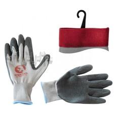 Перчатка белая вязанная синтетическая, покрытая серым рифленым латексом на ладони 10 INTERTOOL