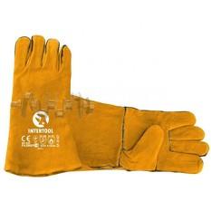 Перчатка замшевая 14 (желтая) (ящик 60 пар) INTERTOOL