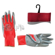 Перчатка красная вязанная синтетическая, покрытая серым нитрилом на ладони 10 INTERTOOL
