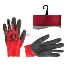 Перчатка красная вязанная синтетическая, покрытая серым пористым нитрилом на ладони 10 INTERTOOL