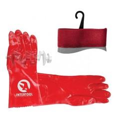 Перчатка маслостойкая х/б трикотаж покрытая PVC, 35 см (красная) INTERTOOL