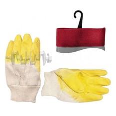 Перчатка стекольщика тканевая покрытая рифленым латексом на ладони (желтая) INTERTOOL