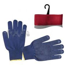 Перчатка трикотажная акриловая покрыта PVC точкой на ладони 9 (синяя) INTERTOOL