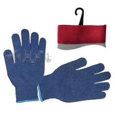 Перчатка трикотажная синтетическая 9 с покрытием PVC точкой на ладони (синяя) INTERTOOL