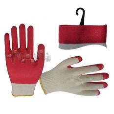 Перчатка х/б трикотаж покрытая латексом на ладони 8 (красная) INTERTOOL