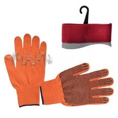 Перчатка х/б трикотаж с точечным покрытием PVC на ладони (оранжевая) INTERTOOL
