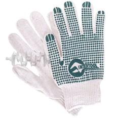 Перчатка хлопчатобумажная трикотажная с резиновым вкраплением с одной стороны (ПВХ зеленая) INTERTOO