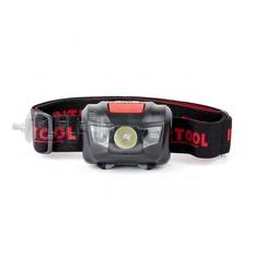 Фонарь налобный светодиодный, пылевлагозащищенный корпус, четыре режима работы, 1 Вт + 2 LED, батаре